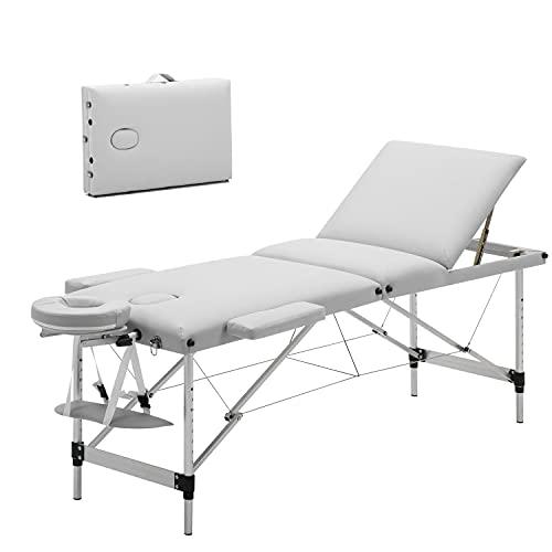 Meerveil Lettino da Massaggi 3 Zone Alluminio Portatile, Tavolo da Massaggio Letto Lettino Spa, Lettino Massaggi Professionale per Estetista e Fisioterapia, Bianco