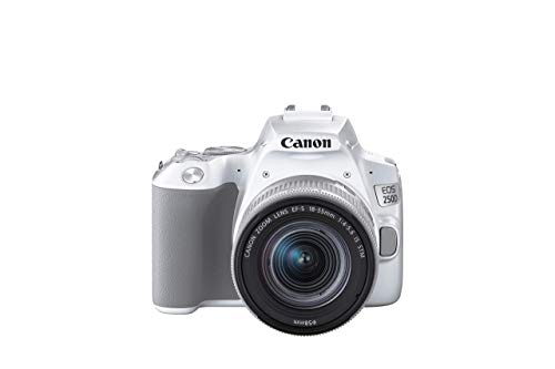Canon EOS 250D Digitalkamera (24,1 Megapixel, 7,7 cm (3 Zoll) Vari-Angle Display, APS-C-Sensor, 4K, Full-HD, DIGIC 8, WLAN, Bluetooth) mit Objektiv EF-S 18-55mm F4-5.6 IS STM weiß/silber