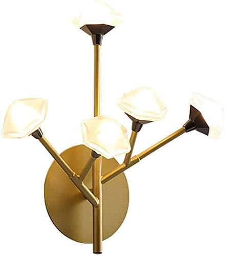 Lámpara de pared Retro Aplique, Lámparas de pared accesorios interior moderno simple creativo 5 cabezas flor prismática poligon acrílico shade plating oro color labrado hierro led lámpara pared nórdic