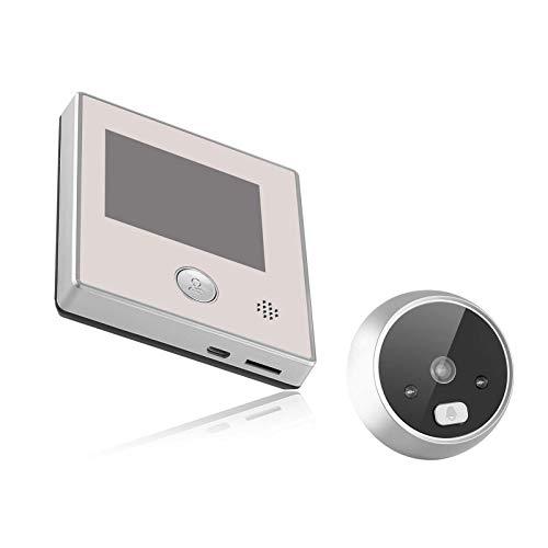 QWERTYUKJ Pantalla LCD TFT de 2.8 Pulgadas Timbre Digital 0.3MP IR Visión Nocturna Puerta electrónica Mirilla Foto y Video Visión Nocturna Espejo de la Puerta