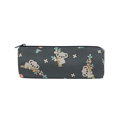 KUWT Pencil Bag Floral Tree Animal Koala, Pencil Case Pen Zipper Bag Pouch Holder Makeup Brush Bag for School Work Office