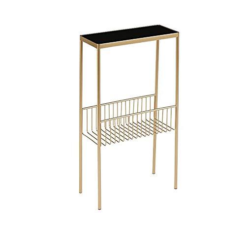 Jcnfa-bijzettafel Gehard Glas/Smeedijzeren Eindtafel, Sofa Side Table, Met Metalen Mesh Opbergrack, Slaapkamer nachtkastje, goud, Zwart