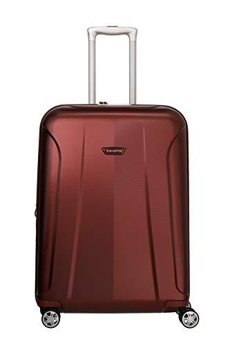 travelite 4-Rad Koffer Größe M mit Dehnfalte + TSA Schloss, Gepäck Serie ELBE: Widerstandsfähiger Hartschalen Trolley, 075548-10, 67 cm, 73 Liter (erweiterbar auf 84 Liter) rot