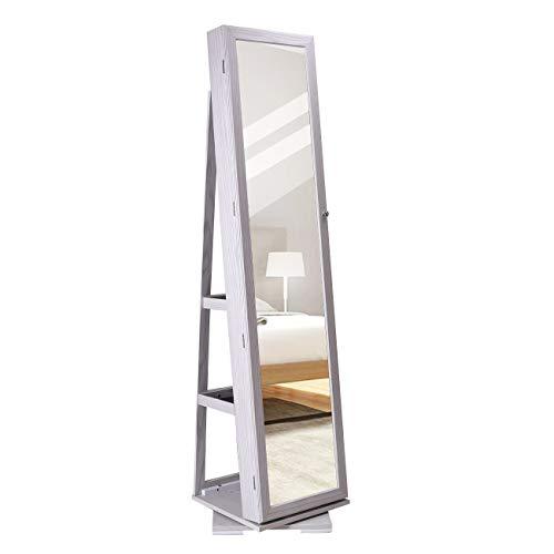 DlandHome Schmuckschrank mit Spiegel in voller Länge & 360 ° drehbarer Basis, Spiegelschrank Stehend abschließbarer, Standspiegel Winkel Einstellbar, Aufbewahrungsschrank für Schmuck,Weiß