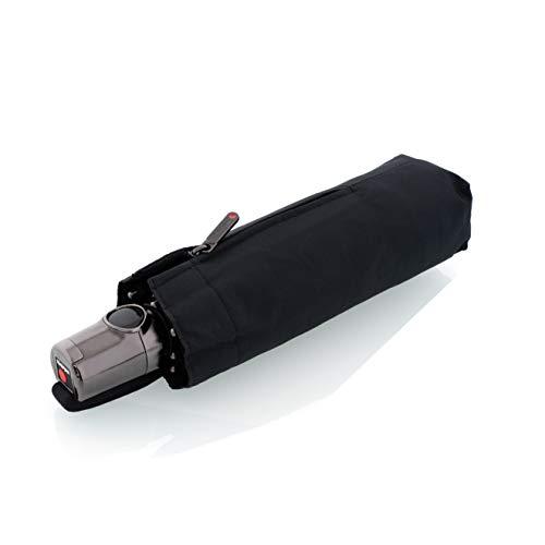 Knirps Taschenschirm T.100 Small Duomatic – Klein und leicht – Auf-Zu-Automatik – Sturmfest – Schwarz