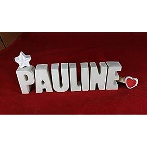 Beton, Steinguss Buchstaben 3 D Deko Schriftzug Namen PAULINE als Geschenk verpackt! Ein ausgefallenes Geschenk zur…