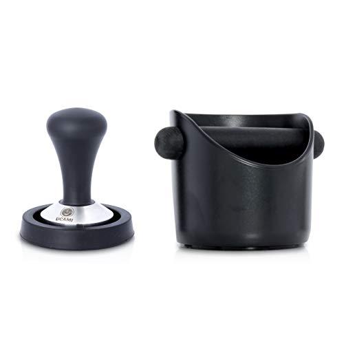Ucami 51mm Kaffee-Tamper Set im Premium Design - Klassischer Kaffeemehlpresser / Espresso Stempel aus Edelstahl mit Matte & Abklopfbehälter