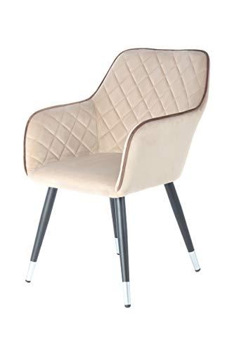 Chaise design Mina 625 Beige / Brown, revêtement en velours, 61cm (L/D) x 58,8cm (l) x 86cm (H), tissu en velours 100% polyester, mousse, contreplaqué hêtre ; cadre en acier, revêtement par poudre