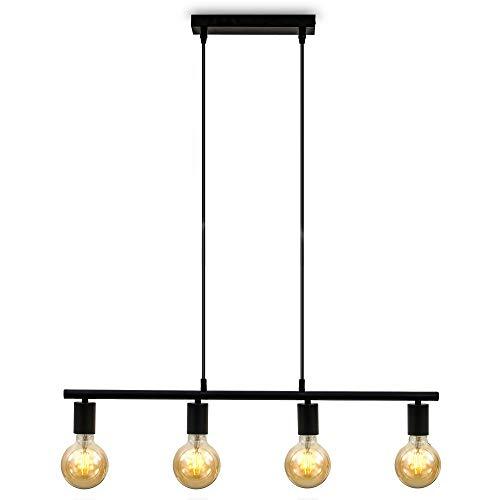 B.K.Licht Lampadario vintage nero, adatto per 4 lampadine E27 non incluse, altezza 120cm, larghezza 75cm Lampada a sospensione per salotto o sala da pranzo, Lampada da soffitto industriale, IP20