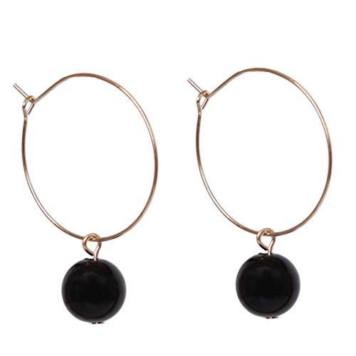 Timesuper Pendientes geométricos de metal con perlas geométricas para mujer, de oro