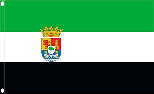 Durabol Bandera de Extremadura Flag 90x150cm Satin 2 Anillas metálicas fijadas en el Dobladillo