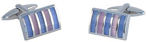 Argent / Bleu / Rose Rectangle Striped Cats Eye boutons de manchette de David Van Hagen