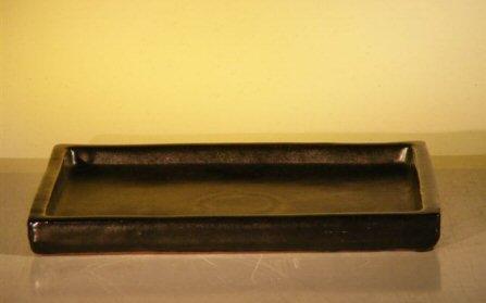 Bonsai Boy's Black Ceramic Humidity Drip Bonsai Tray - Rectangle 7 75 x 5 25 x 75 OD 7 5 x 4 5 x 75 ID