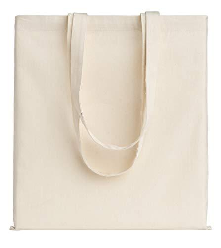 POLHIM® Qualität Baumwolltasche Jutebeutel 220 g/m2 Größe 38x42 cm Langen Henkeln 70 cm Natur 100% Baumwolle (Natur, 2 Stück)