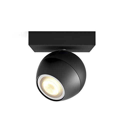 Philips Hue White Ambiance Buckram Faretto LED Singolo, Lampadina Inclusa, Nero