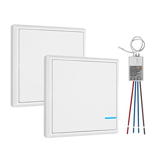 TSSS Dual Funkschalter Lichtschalter mit Empfänger LED Anzeige Licht Set - Außen 600m Drinnen 40m - Schnell erstellen Ein/Aus Keine Leitungsverlegung - RF 433Mhz Fernbedienung LED Lampen Birne