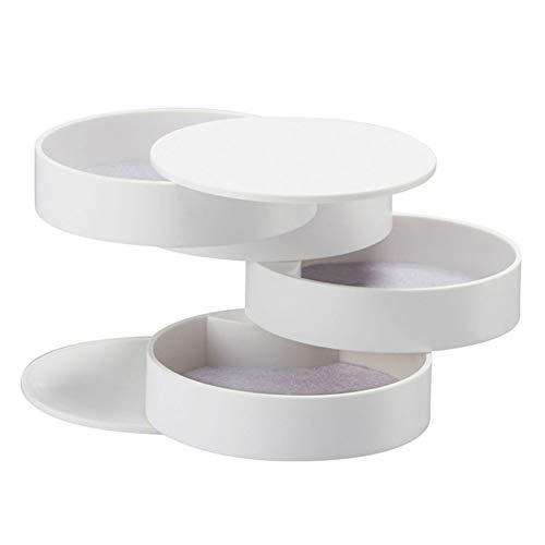 Suszian Mehrschichtige Schmuckschatulle, Schmuckaufbewahrungsbox, 360 Grad drehbar, 4 Ebenen, Schmuckhalter für Halskette, Armband, Ring, Ohrring