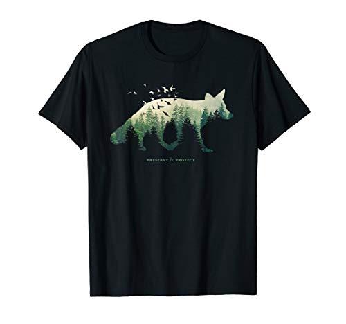 Preserve & Protect Umweltschutz Klimaschutz Fuchs Silhouette T-Shirt