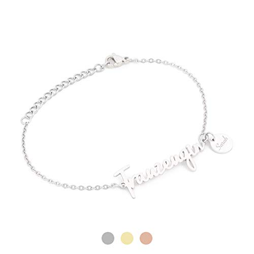 AVIANA Trauzeugin Armband mit Namen Gravur | Personalisierte Geschenke | Trauzeugin fragen | Personalisierter Schmuck | Farben Silber Gold Roségold