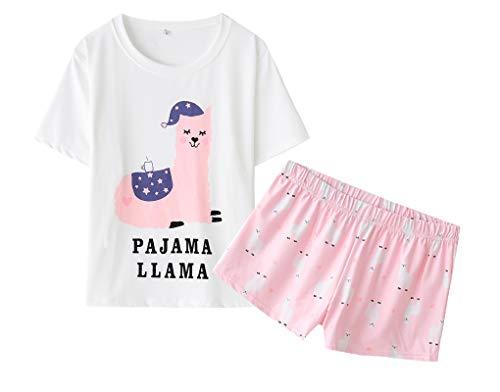 MyFav Damen Pyjamas Schlafanzug Niedlicher Soft Alpaka Kurzarm Anzug, Rosa, Small