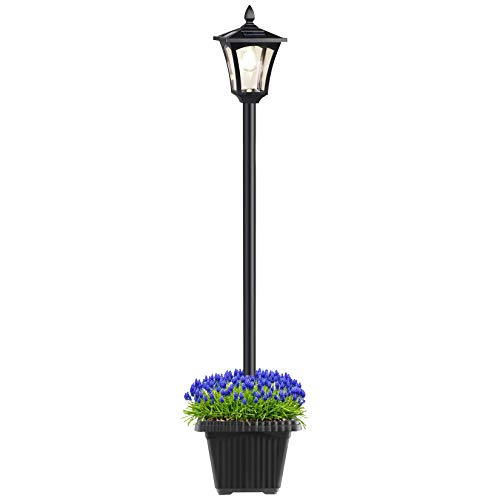 Solar Post Lamp with Planter, 64 Inches Solar Powered Street Lights Outdoor, Garden Solar Lamp Post Light for Lawn, Pathway, Driveway