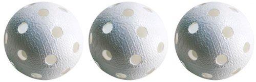 Realstick Floorball Unihockey Ball 3er Set Farbe: Weiß | Wettkampfball Trainingsball mit IFF Zertifikat für geprüfte Qualität