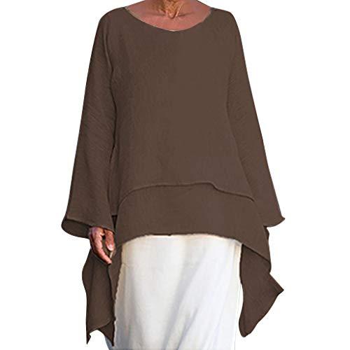 Camiseta Larga de Manga Larga para Mujer, Irregular, Grande, de Lino, Elegante, Cuello en V, Irregular, Estilo Vintage, Informal, para otoño