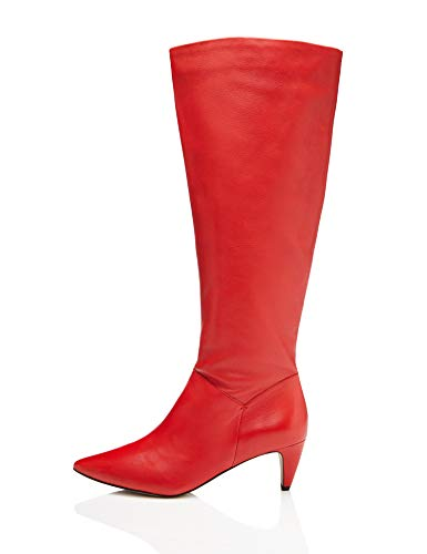 find. Leather Stivali Arricciati, Rosso Red), 38 EU