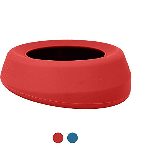 Kurgo K81063 No Spill Dog Travel Bowl | Portable No-Mess Water Bowl for Dogs | Splash Less Pet Bowl for Car Travel | Dog Travel Accessories | Splash Free Wander Water Bowl | 24 oz, Chili Red