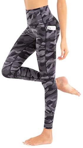 LIFE SKY Leggings estampados para mujer con bolsillos de cintura alta, pantalones de yoga de camuflaje suave - marr�n - XXL