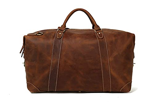 Leather Duffel Bag for Men Full Grain Leather Weekender Travel Duffle Bag Carry-on Luggage Bag