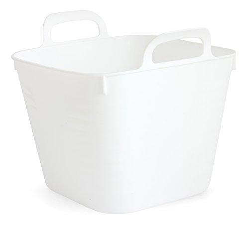 GELCO Design Cooper Panier de Rangement Carre GM, Plastique, Blanc, 18 x 18 x 17,5 cm