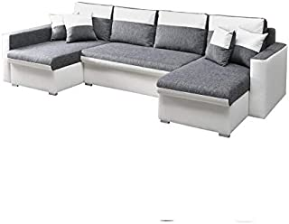 MEUBLO Grand canapé d'angle panoramique Convertibles 6/7 Places Tissu + Simili Cuir Berlin U (Blanc, Canapé d'angle Gauche)