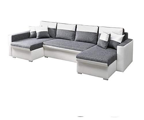 Canapé d'angle 7 places Blanc Tissu Confort