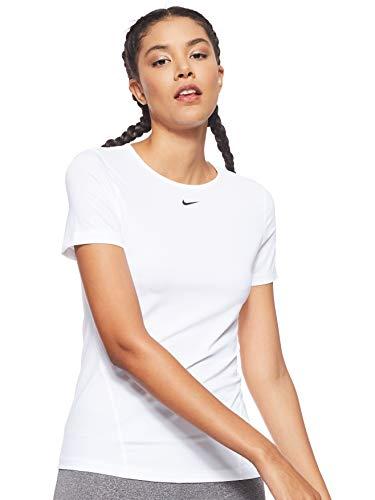 Nike Damen Pro T-Shirt, White/Black, M