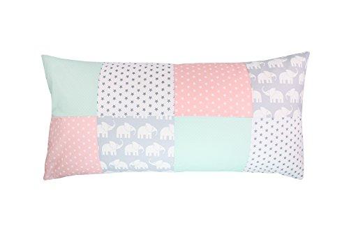 Funda patchwork para cojín de ULLENBOOM ® con elefantes menta rosa (funda para cojín de 40x80 cm; 100% algodón; ideal como cojín decorativo o de adorno para la habitación de los niños)