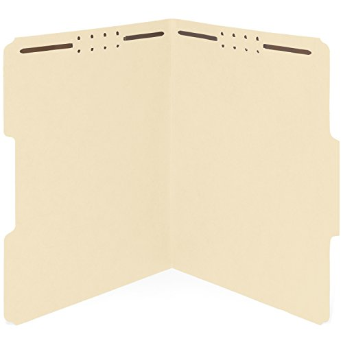 50 Manila Fastener File Folders - 1/3 Cut Reinforced Assorted Tab - Durable 2 Prongs Designed to Organize Standard Medical Files, Law Client Files, Office Reports - Letter Size, Manila, 50 Pack