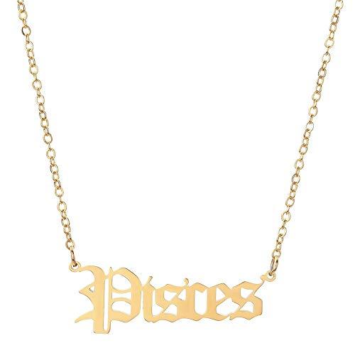 Sternzeichen Halskette Gold - Procon Zodiac Sign Necklace Sternzeichen Ketten für Damen und Herren (Fische (Pisces))