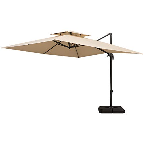 Outsunny 10ft Double Top Outdoor Patio Cantilever Umbrella with Base and Cover, Deluxe Aluminum Square Umbrella with 360 Degree Rotation, Tilt Function and Water-Resistant Canopy, Latte
