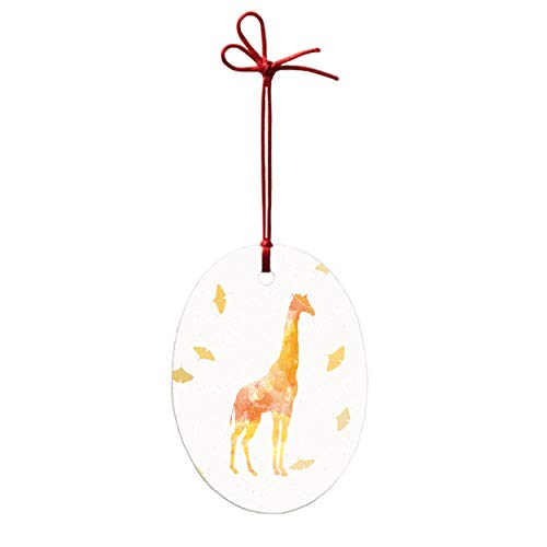 Personalized Custom Handmade Oval Ceramic Ornament - Art Golden Giraffe Pattern Design Christmas Tree Decor-ation Xmas Engagement Wedding Anniversary.
