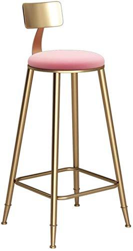 Taburete de bar redondo dorado taburete de acero para el desayuno, para la cocina, bar, el hogar, la silla comercial LOFT Taburete alto con respaldo y cojín de terciopelo rosa retro (tamaño: 78 cm)