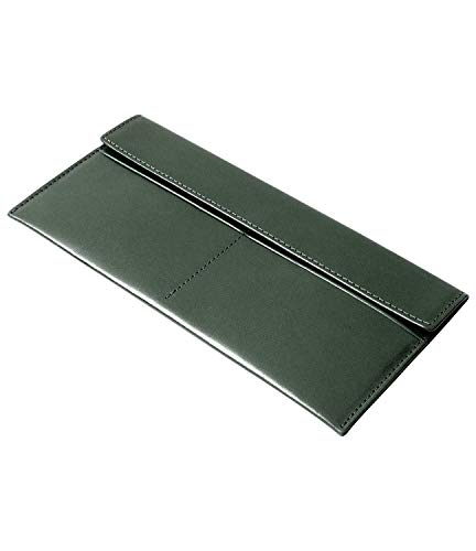 [Dom Teporna Italy] お札入れ 小銭入れなし 薄型財布 薄い 本革 イタリアンレザー 長財布 カードケース お札ケース メンズ レディース グリーン