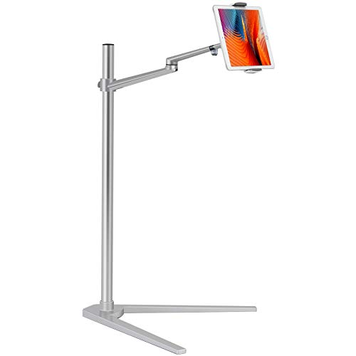 Viozon Tablet Floor Stand, Holder for iPad,Applicable to3.5~6.7inch Smart Phone and 7~13 inch Tablet Such as iPad, iPhone X, iPad Pro,iPad Mini, iPad Air 1-2 / iPad 2-4 (Silver)