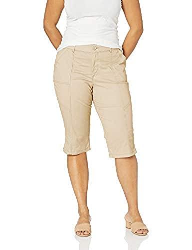 Lee Women's Plus Size Flex Motion Regular Fit Utility Capri Pant, Safari, 16W Medium