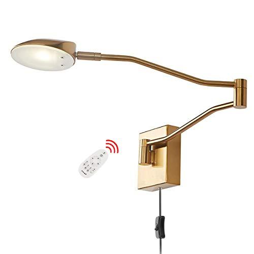 Moderne LED Wandleuchte Verstellbare Lange Arm Bettlampe Leselampe Dimmbar mit Schalter und 1.5M Kabel, Metall Schlafzimmer Nachttisch Wandlampe für Arbeitszimmer Wohnzimmer, 4000K Warmweiß,Gold