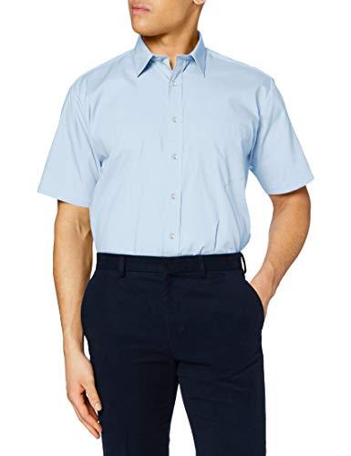 Premier Workwear Premier Popelin Herren Hemd, kurzärmlig (Kragenweite 47cm) (Hellblau)