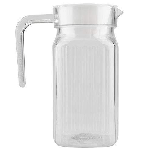 Acryl Koelkast Jug met Deksel en Handvat, Geribbelde Gestreepte Sap Fles Glaswerk Drinkware Water IJskoud Dispenser voor Bar Home Application 500ML