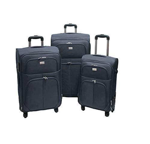 SLmilano Trolley valigia set valigie semirigide set bagagli in tessuto super leggeri 4 ruote piroettanti trolley piccolo adatto per cabina con compagnie lowcost art.214 (grigio)