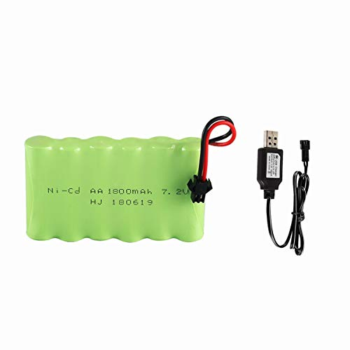7.2v 1800mah SM2P Plug Rechargeable NI-Mh Battery with 7.2V SM2P USB Cable for RC Car Truck Tank Toys