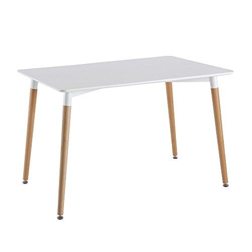 THE HOME DECO FACTORY HD3211 Table Blanche RECTANGULAIRE, Bois/Métal/PP, Blanc, 115,1x75,2x76 cm